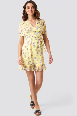 NA-KD Boho Short Sleeve Print Chiffon Dress - Yellow