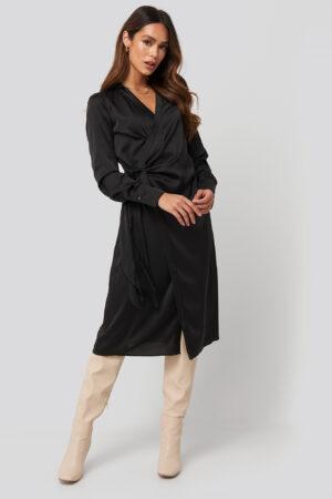 NA-KD Trend Side Tie Satin Midi Dress - Black