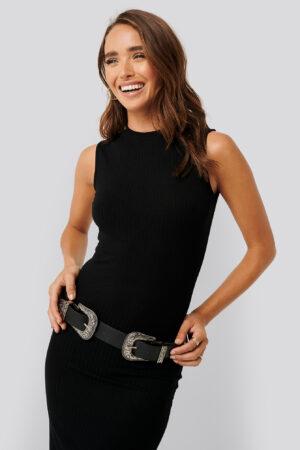 NA-KD Basic Sleeveless Ribbed Midi Dress - Black