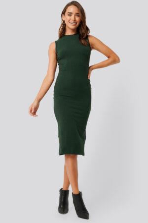 NA-KD Basic Sleeveless Ribbed Midi Dress - Green