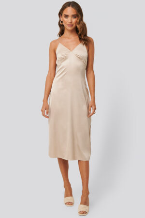 NA-KD Trend Slip Satin Slit Dress - Beige
