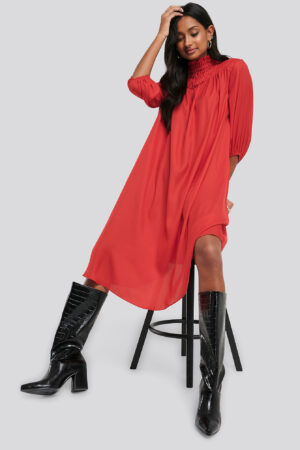 NA-KD Smock Chest Dress - Red