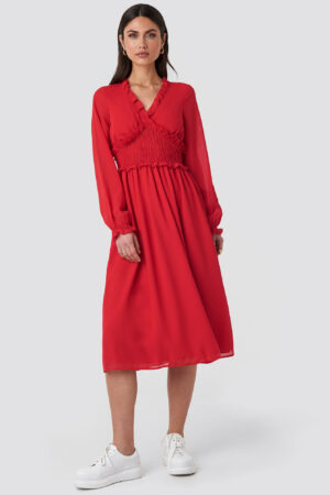 NA-KD Boho Smock Detail V-Neck Midi Dress - Red