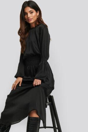 NA-KD Smocking Detail Satin Midi Dress - Black