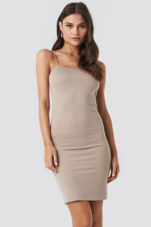 NA-KD Spaghetti Strap Dress - Beige