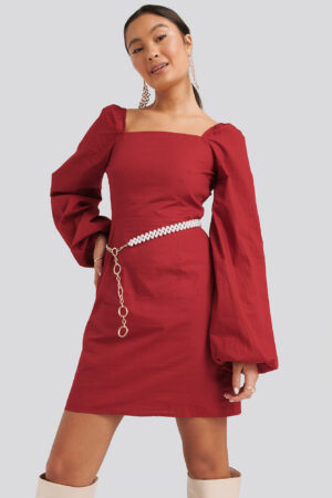 NA-KD Boho Square Neck Balloon Sleeve Dress - Red