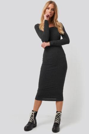 NA-KD Square Neck Long Sleeve Ribbed Midi Dress - Grey