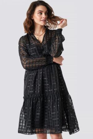 NA-KD Party Square Patterned Flounce Dress - Black