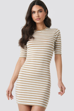 NA-KD Striped Fitted T-shirt Dress - Beige
