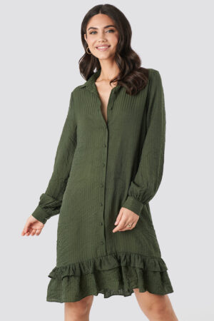 NA-KD Striped Flounce Mini Dress - Green