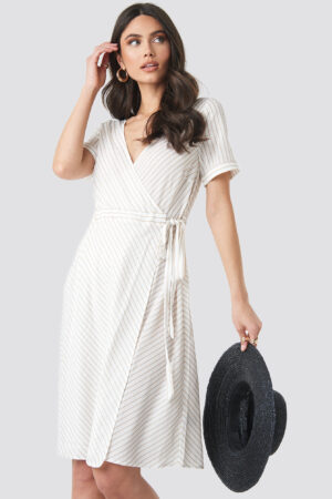 NA-KD Striped Overlap Dress - White