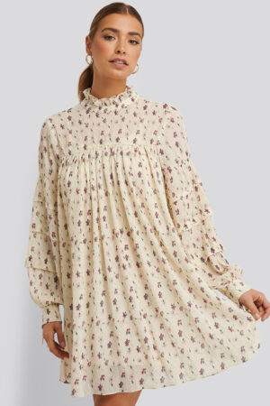 NA-KD Boho Structured Flower Printed Dress - White