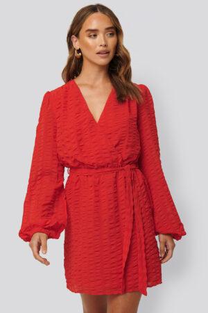 NA-KD Boho Structured Overlap Mini Dress - Red