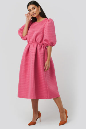 NA-KD Boho Structured Puff Dress - Pink