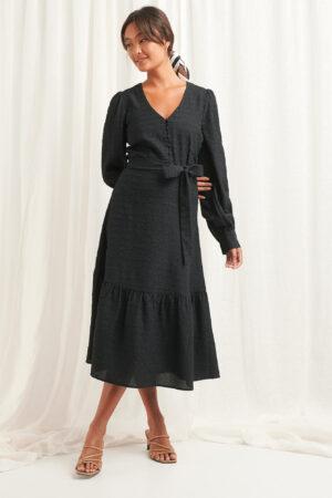 NA-KD Boho Structured Tie Waist Dress - Black