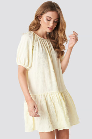 NA-KD Trend Structured Tiered Mini Dress - Yellow