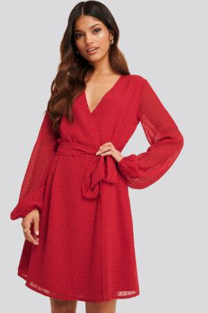 NA-KD Swiss Dot Overlap Dress - Red