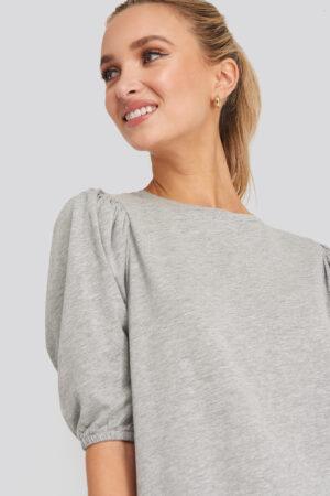 NA-KD T-shirt Puff Sleeve Dress - Grey