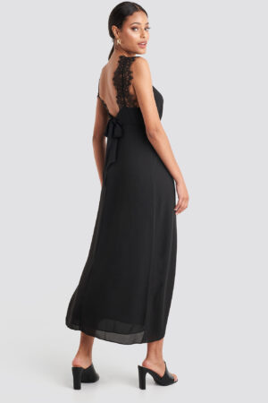 NA-KD Party Thin Strap Lace Back Dress - Black
