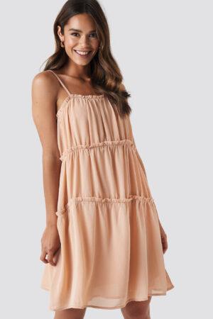NA-KD Boho Thin Strap Tiered Mini Dress - Pink