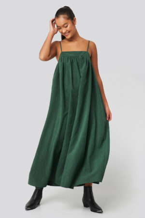 NA-KD Trend Thin Strap Volume Midi Dress - Green