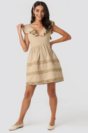NA-KD Boho Tie Back Layered Flounce Dress - Beige