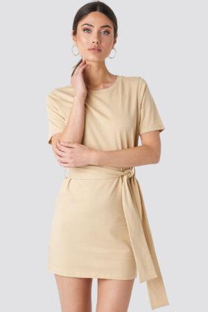 NA-KD Tie Waist T-shirt Dress - Beige