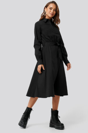NA-KD Trend Tied Waist Shirt Dress - Black
