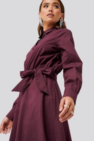 NA-KD Trend Tied Waist Shirt Dress - Red