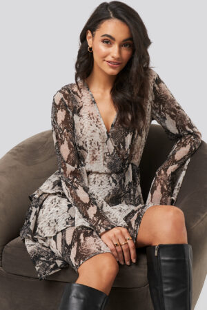 NA-KD Boho Triple Layer LS Flounce Dress - Grey