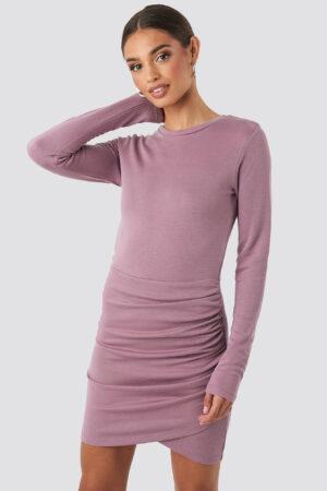 NA-KD Party Twist Wrap Jersey Dress - Purple