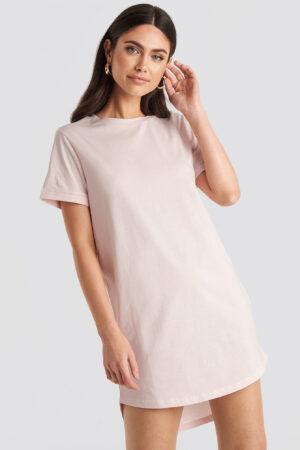 NA-KD Uneven Hem Oversized T-shirt Dress - Pink