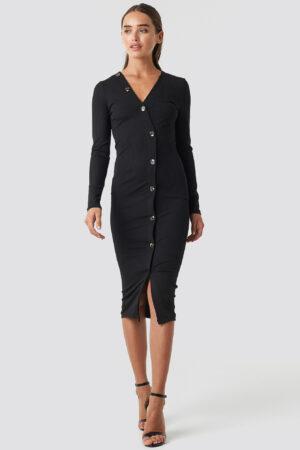 NA-KD Trend V-Neck Ribbed Button Detail Dress - Black