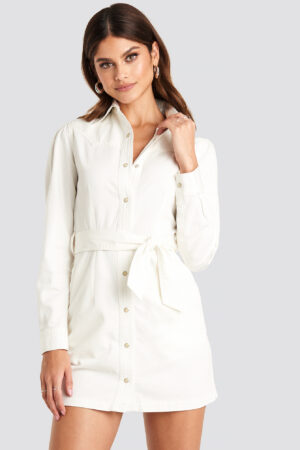 NA-KD Trend Western Denim Dress - White