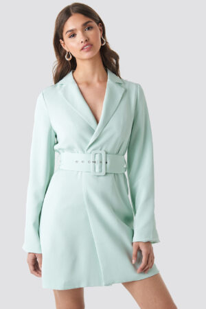 NA-KD Trend Wide Sleeve Belted Blazer Dress - Green