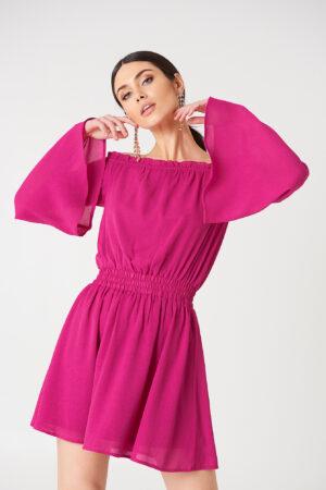 NA-KD Boho Wide Sleeve Off Shoulder Dress - Pink