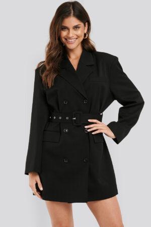 NA-KD Classic Wide Shoulder Belted Blazer Dress - Black