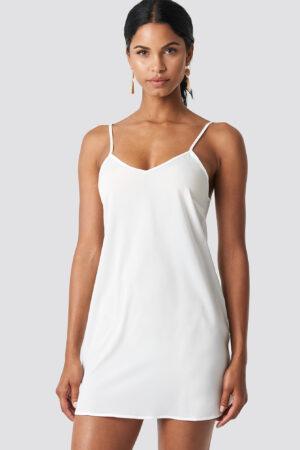 NA-KD Basic Woven Basic Dress - White