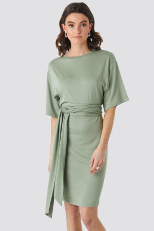 NA-KD Wrap Detail Jersey Dress - Green