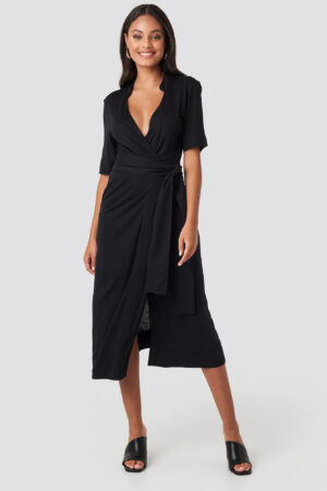 NA-KD Wrap Jersey Midi Dress - Black