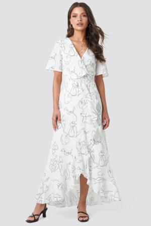 Faces I Don't Know x NA-KD Wrap Midi Dress - White