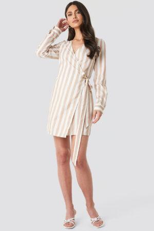 NA-KD Wrap Over Striped Dress - White