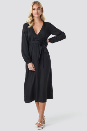 NA-KD Trend Wrap Over Tie Waist LS Dress - Black