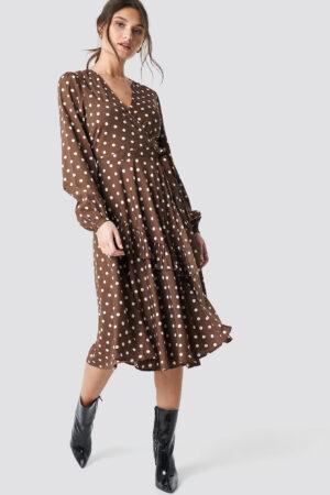 NA-KD Boho Wrapped Dot Midi Dress - Brown