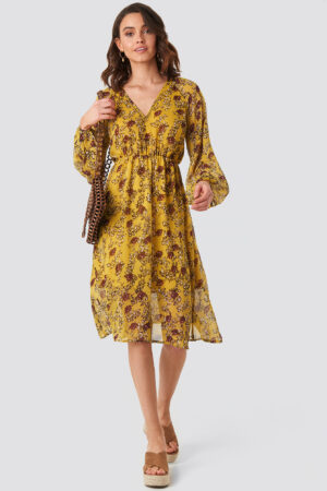 NA-KD Boho Yellow Flower Print Midi Dress - Yellow