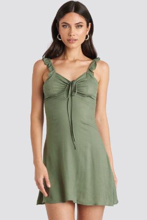 Nicole Mazzocato x NA-KD Frill Strap Mini Dress - Green