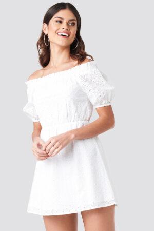 Donnaromina x NA-KD Off Shoulder Puffy Sleeve Dress - White