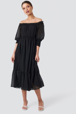 Schanna x NA-KD Off Shoulder Chiffon Midi Dress - Black