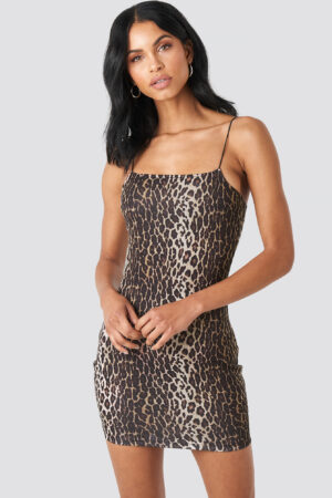 Summerburst x NA-KD Leopard Spaghetti Strap Dress - Multicolor