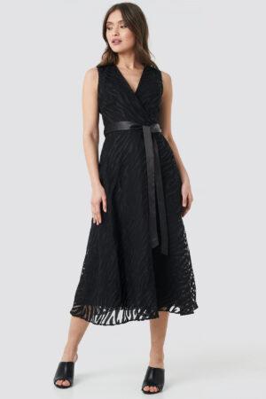Trendyol Belted Detailed Animal Midi Dress - Black